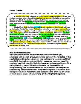 Become a Highlighting Ninja Non-Fiction Reading Comprehension  and Study Skills