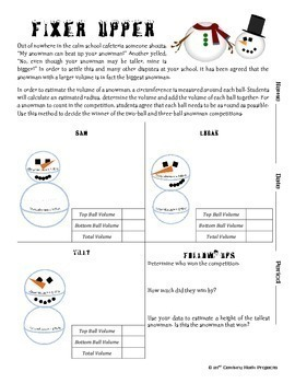 You Wanna Build a Snowman? -- Volume of a Sphere - 21st Century Math Project