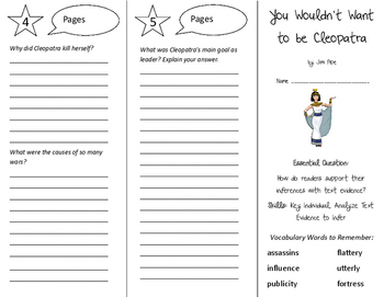 You Wouldn't Want to be Cleopatra Trifold - ReadyGen 6th Grade Unit 1 Module A
