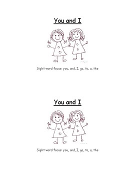 You and I - Sight Word Reader - Guided Reading - Homeschool - Centers - Fluency