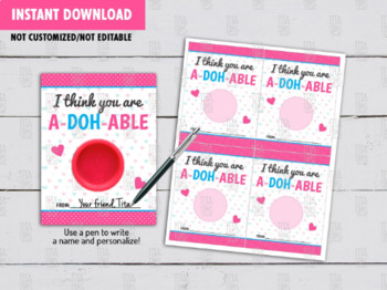 You are A-DOH-ABLE Exchange Tag, Valentines Printable Play Dough Card