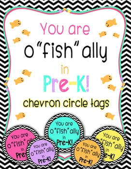 """o""""fish""""ally in pre-k multi-color chevron tags"""