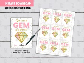 You are a Gem of a friend Gift Tag, Valentine Gem Glitter School Exchange Ideas