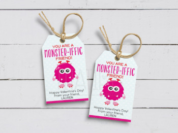 You are a Monster-iffic Friend Gift Tags, Printable Favor Cards, School Exchange