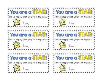 """""""You are a STAR!"""" gift tags"""