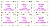 """Testing Motivation Cards """"You're a star"""""""