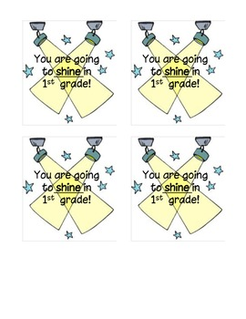 You are going to SHINE in 1st grade! Back to school tags!