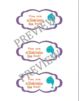 """You are o""""fish""""ally in K-5th grade gift label"""