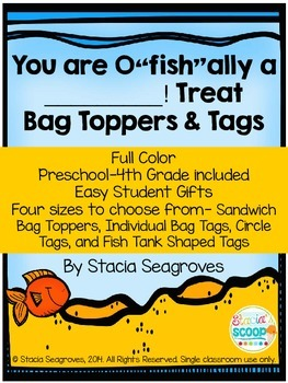 "You are o""fish""ally in ___Grade!"" Treat Bag Toppers and Ta"
