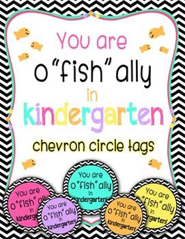 """o""""fish""""ally in kindergarten multi-color chevron tags"""