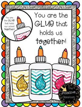 Teacher Appreciation Gift Tags You are the GLUE that Holds Our School Together