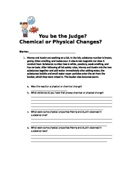 """You be the Judge"" Chemical and Physical Changes mock labs"