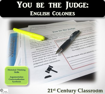 You be the Judge: English Colonies