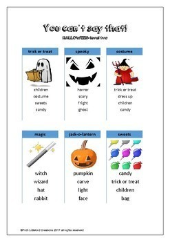 You can't say that! A fun taboo type speaking activity - HALLOWEEN