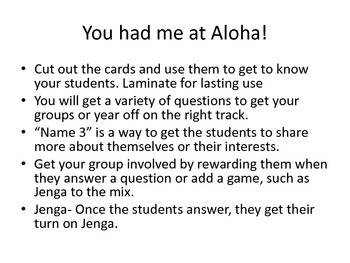 You had me at Aloha!  Group activities. Lunch Bunch