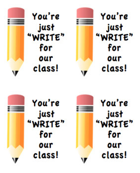 Pencil Gift Tag (You're Just WRITE For Our Class)