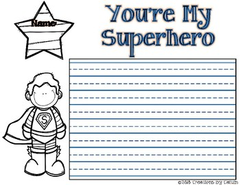 You're My Superhero Writing Template Bundle