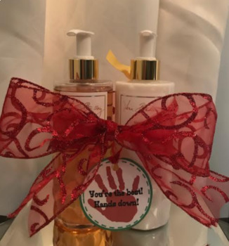 You're The Best! Hands Down! Gift Tag for soaps, lotions, and sanitizers!