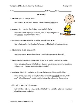 You're a Good Man Charlie Brown Reading Guide
