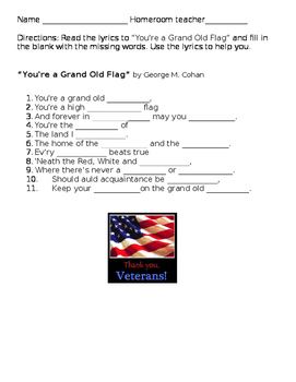 You're a Grand Old Flag worksheet