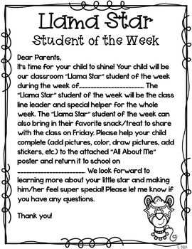 You're a Llama Star: A Llama Themed Student of the Week Pack