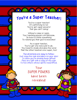 You're a SUPER TEACHER! A Superhero Themed Gift Passing Game