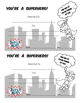You're a Superhero - Reward Certificates