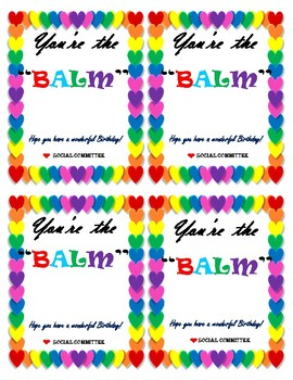 image regarding You're the Balm Free Printable known as Youre The Balm Worksheets Training Products TpT