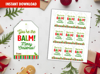 You're the Balm Favor Tags, Happy Holidays Printable Card