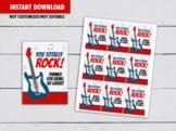 You totally ROCK Gift Tags, Guitar, Music Teacher Appreciation Card, Pop Rocks