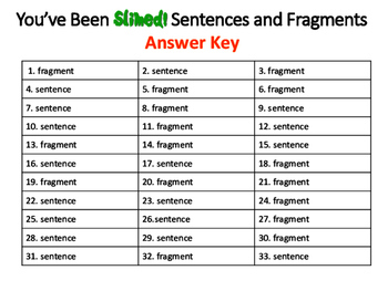 You've Been SLIMED! Sentences and Fragments: A ZAP! Game