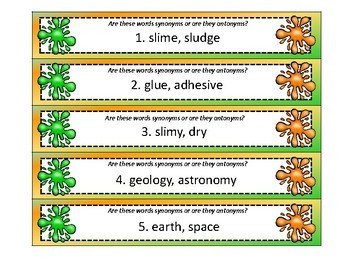 You've Been SLIMED! Synonyms and Antonyms, A ZAP Game