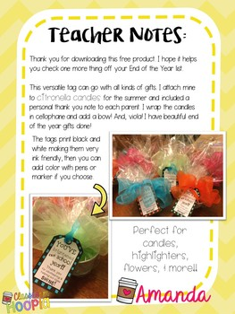 You've Brightened Our School Year Volunteer Thank You Tags