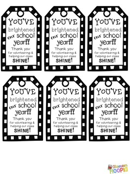 End of Year Volunteer Appreciation Gift Tags: You've Brightened Our School Year