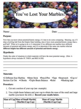 You've Lost Your Marbles Lab Activity - {Editable}