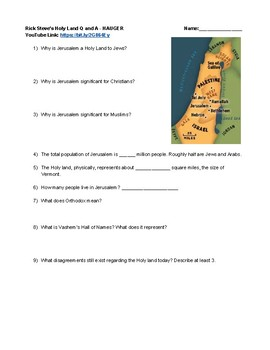 YouTube Movie Questions Rick Steves Holy Land Jerusalem and Israel Questions