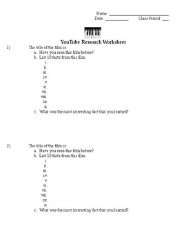 YouTube Research Worksheet