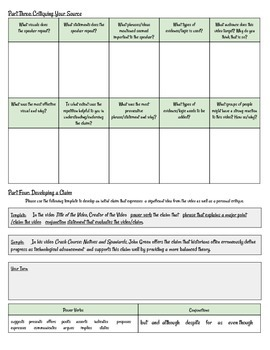 YouTube Video Analysis Graphic Organizer/Activity, Digital/Media Literacy