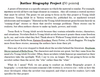 Young-Adult Literature Novelist Project