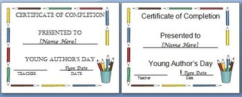 Young Author Award Certificate of Completion