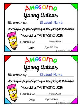 Young Author Certificate {MONTHLY FREEBIE}