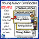 Young Author Crown and Editable Award Certificate