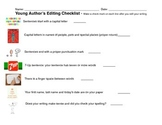 Young Author's Editing Checklist for Writing