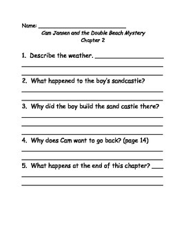 Young Cam Jansen and the Double Beach Mystery Comprehension Questions