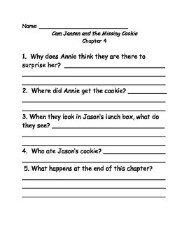 Young Cam Jansen and the Missing Cookie Comprehension Questions