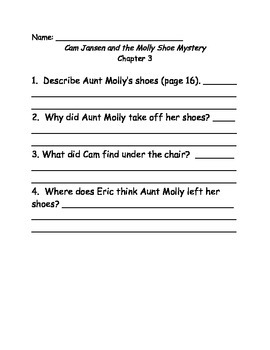 Young Cam Jansen and the Molly Shoe mystery comprehension Questions