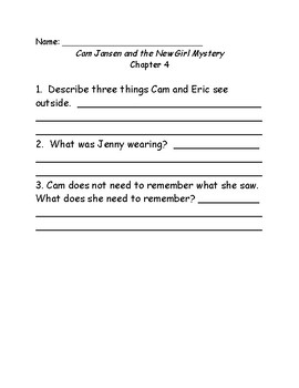 Young Cam Jansen and the New Girl Mystery Comprehension Questions