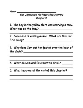 Young Cam Jansen and the Pizza Shop Mystery Comprehension Questions