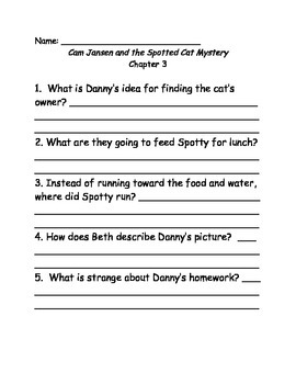 Young Cam Jansen and the Spotted Cat Mystery Comprehension Questions