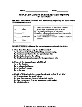 Young Cam Jansen and the Zoo Note Mystery CCG